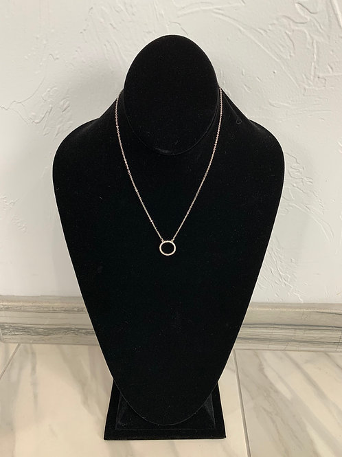 Lauren Michael Silver Circle with Gems Necklace