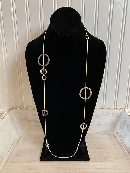 Lauren Michael Silver and Gunmetal Hammered Necklace