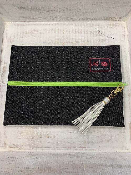 Makeup Junkie Bags Slate Denim Neon Green Zipper Medium