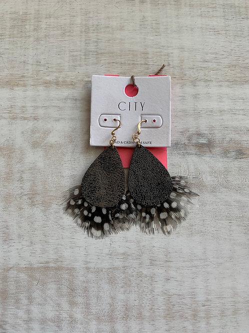 Gray Feather Earrings