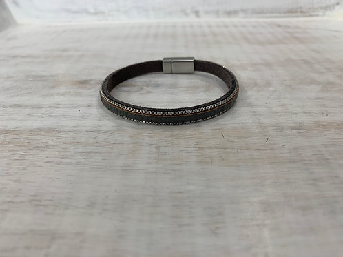 Lauren Michael Leather Style Bangle Metal Clasp