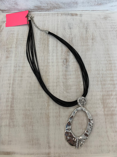 Lauren Michael Statement Necklace Multicord Hammered Circle