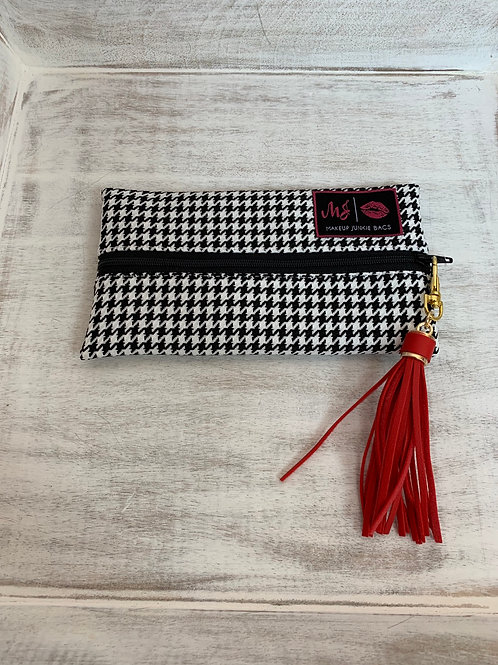Makeup Junkie Bags White Houndstooth Mini