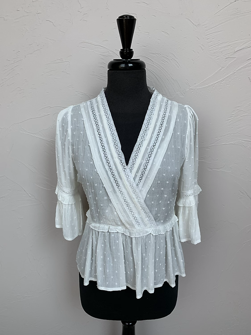 Hem and Thread Lace Trimmed 3/4 Bell Sleeve Swiss Dot Blouse Top