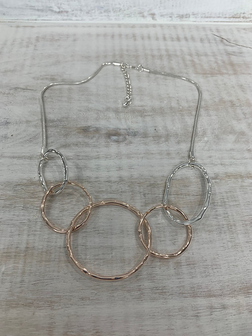 Lauren Michael Silver Large Five Circle Necklace