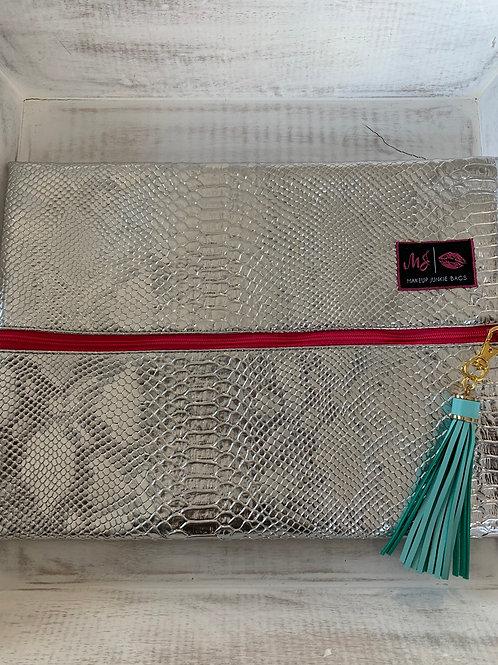 Makeup Junkie Bags Platinum Python Pink Zipper Large