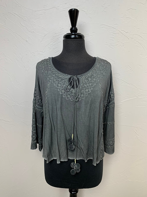 POL Embroidery Top With Pom Poms