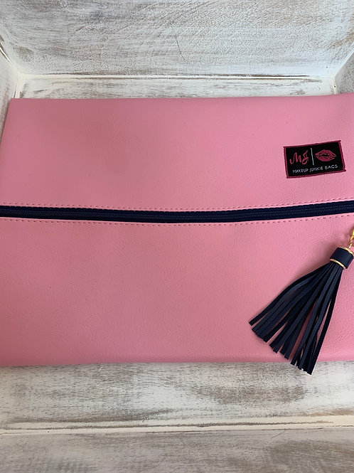 Makeup Junkie Bags Baby Pink Navy Zipper Large