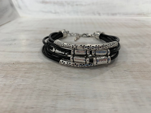 Lauren Michael Black Leather Stack Bracelets