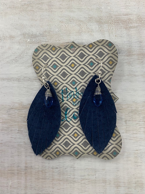MistiC Blue Feather Blue Gem Dangle Earrings