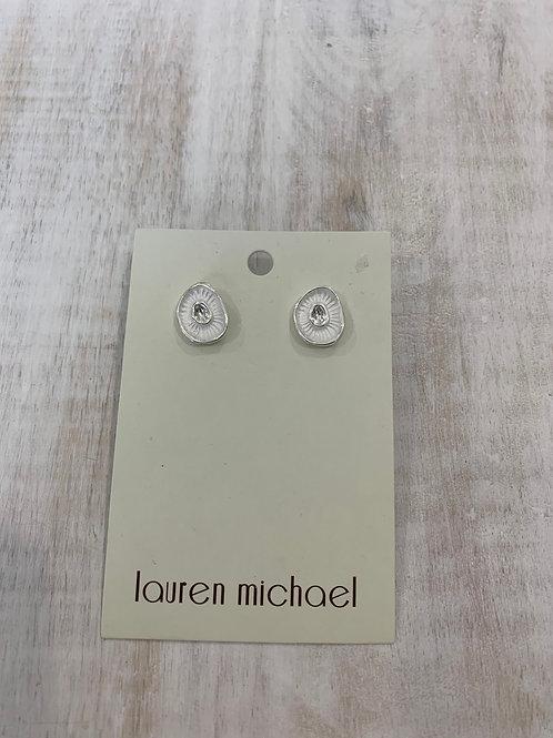 Lauren Michael Oval Pearl Earrings