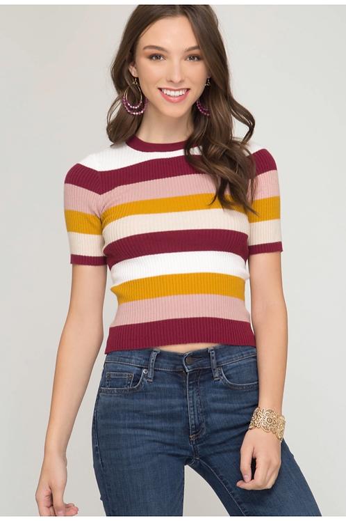 She and Sky Multi Color Stripe Sweater