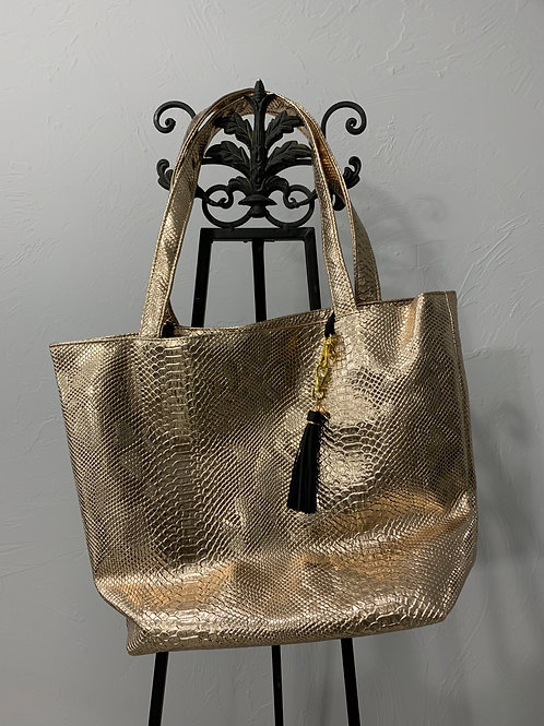 Makeup Junkie Bags Rose Gold Python Daykeeper