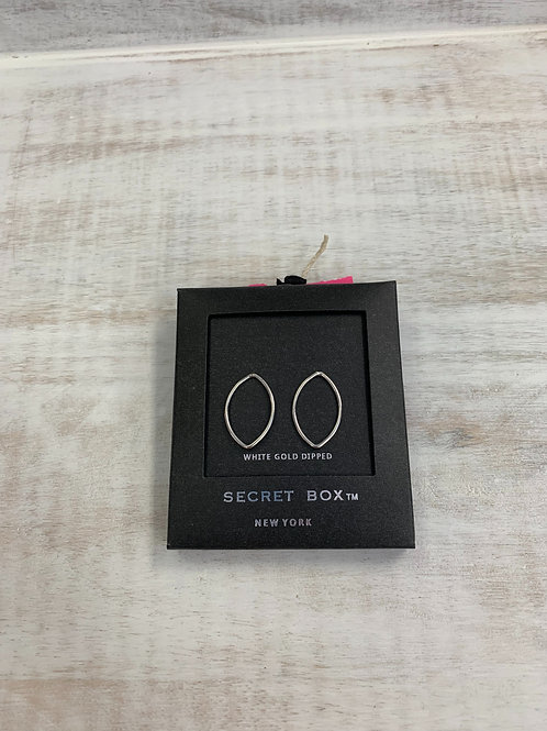 Secret Box Thin Oval Earrings Closed Back