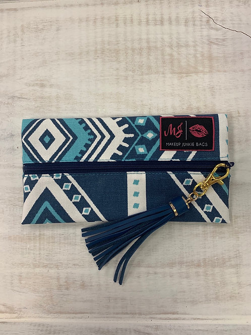 Makeup Junkie Bags Blue Aztec Mini