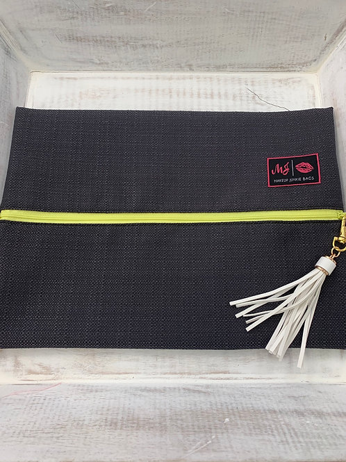 Makeup Junkie Bags Gray Yellow Zipper Large