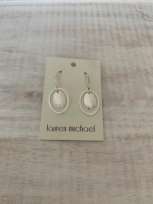 Lauren Michael Silver Layer Open/Closed Oval Earrings
