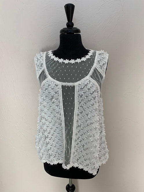 POL Sleeveless Tank with Floral Details