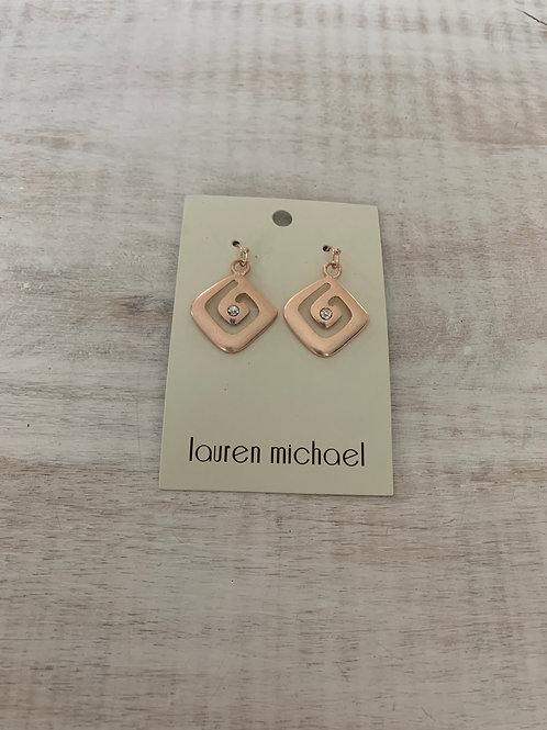 Lauren Michael Rose Gold Abstract Square with Gems Earrings