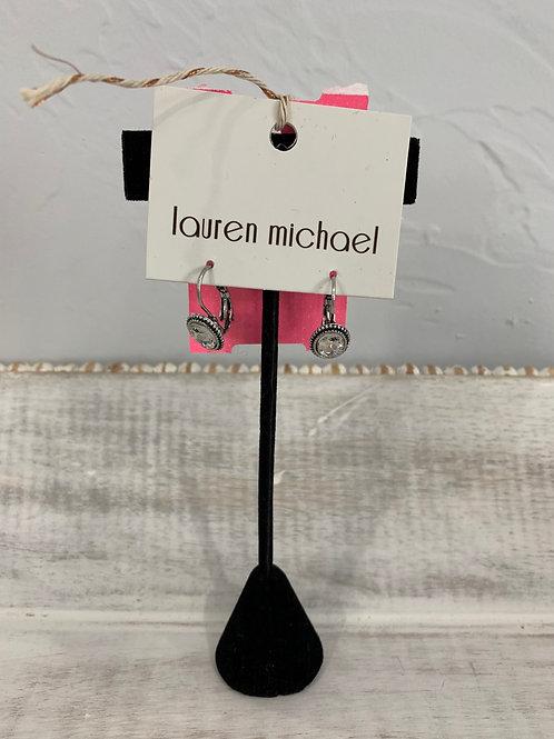 Lauren Michael Silver Crystal Earrings Metal Frame