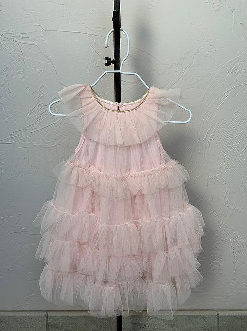 Mud Pie Mesh Tiered Pink Dress 0-6 months