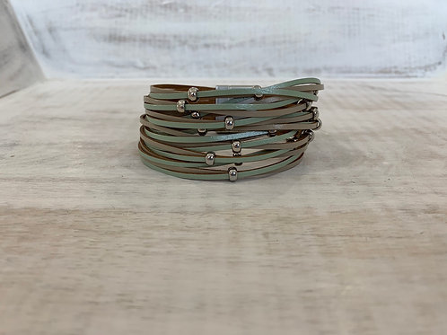 Lauren Michael Mint Green and Brown with Silver Beads Bracelet