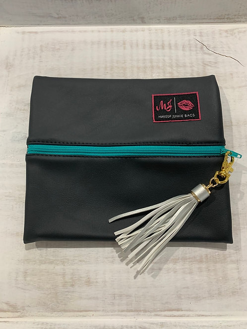 Makeup Junkie Bags Black Out Turquoise Zipper Small