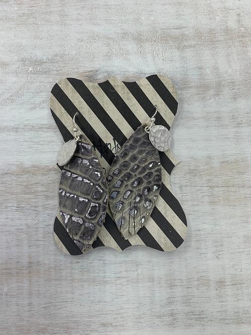 MistiC Gray Snake Silver Hammered Charm Dangle Earrings