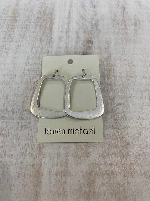 Lauren Michael Silver Large Open Rectangle Earrings
