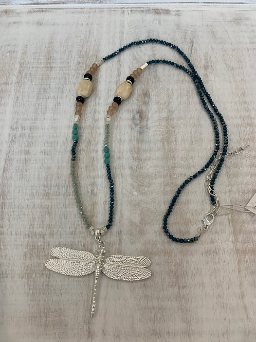 Lauren Michael Long Crystal Dragon Fly Turquoise Necklace