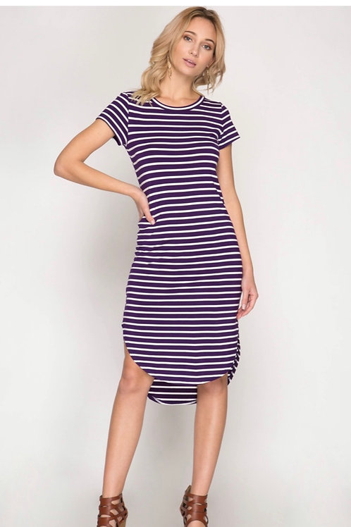 She and Sky Striped Midi Dress with Rounded Hemline