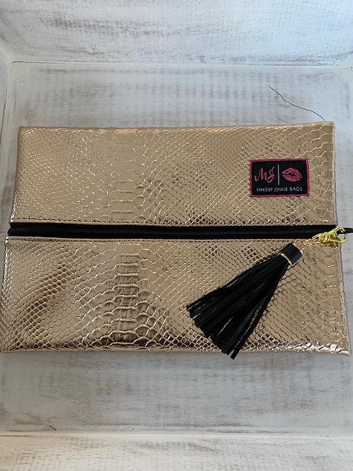Makeup Junkie Bags Rose Gold Python Medium