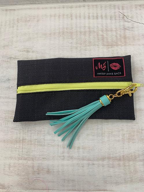 Makeup Junkie Bags Gray Yellow Zipper Mini