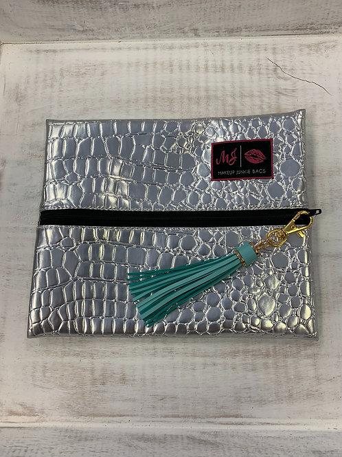 Makeup Junkie Bags Silver Gator Black Zipper Small