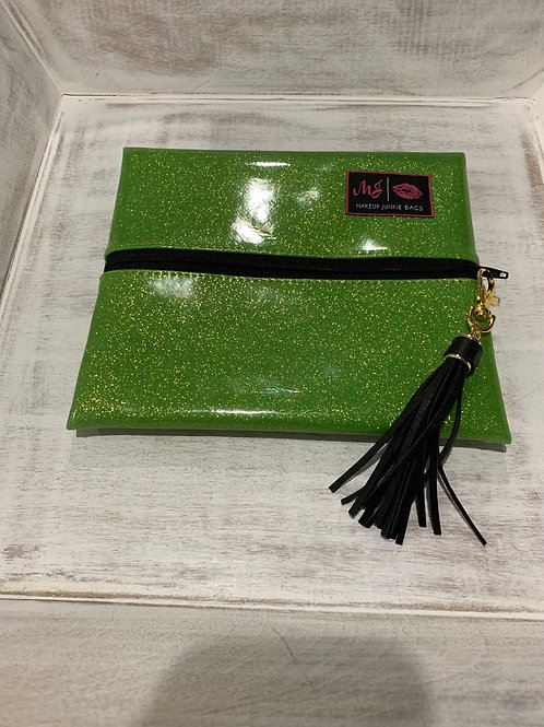 Makeup Junkie Bags Lime Glitter Small