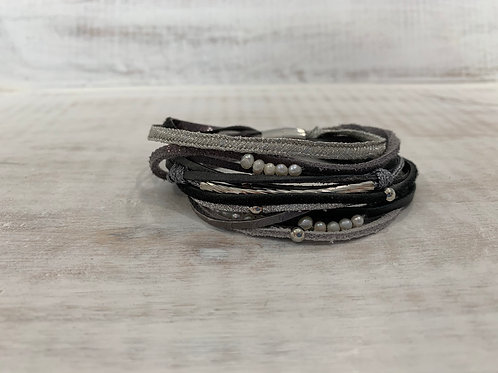 Lauren Michael Gray Ribbed Bracelet