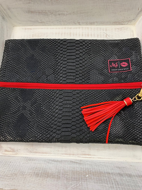 Makeup Junkie Bags Black Cobra Red Zipper Large