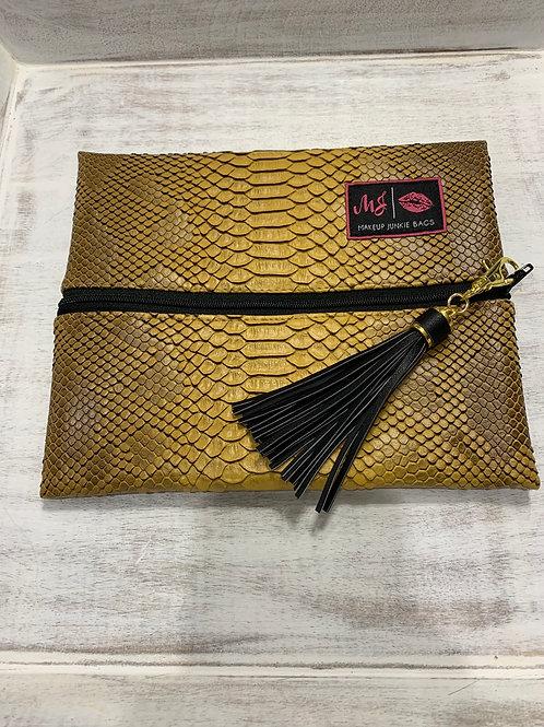Makeup Junkie Bags New Mustard Cobra Small