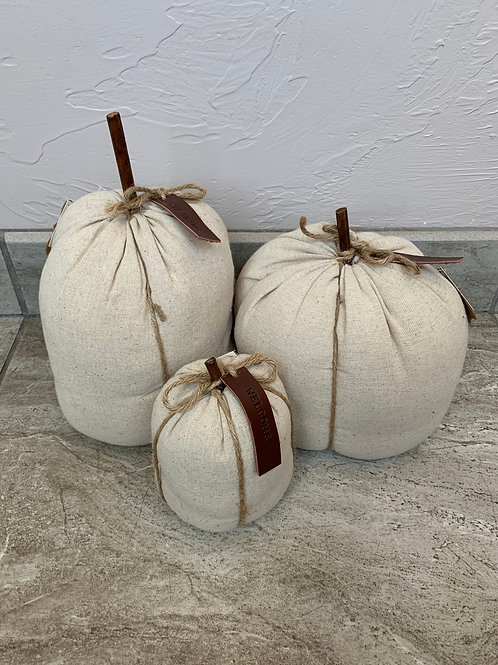 Mud Pie Linen Pumpkins Set of Three