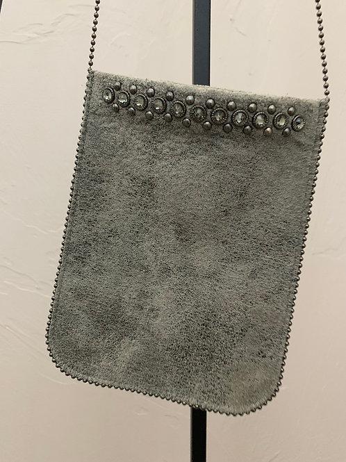 Leatherrock Blue Gray Crossbody Bag Stud Detail