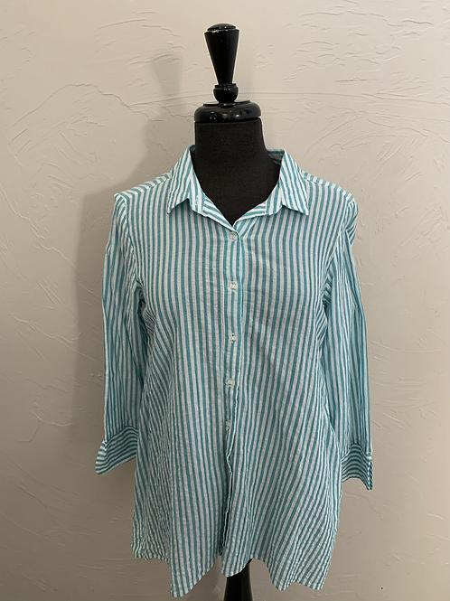 Habitat Teal Striped Button Up Shirt