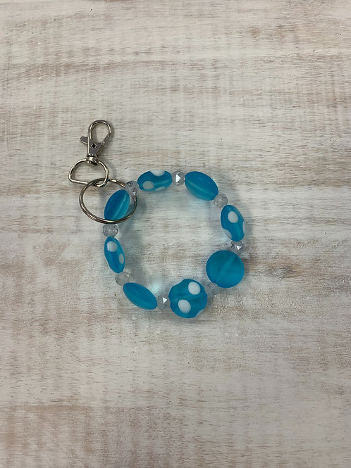 Beaded Beginnings Keychain for Makeup Junkie Bags Blue and White Spot