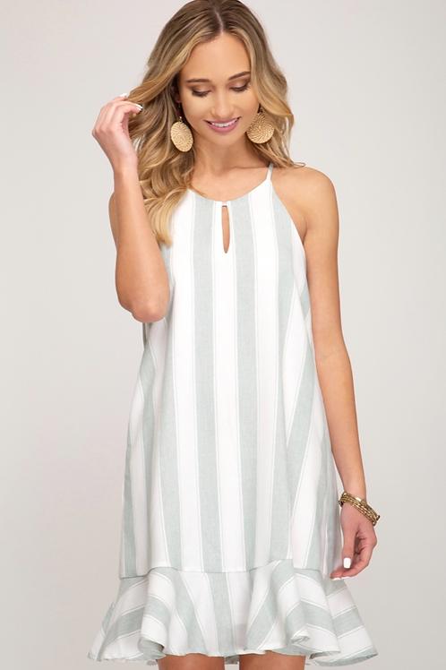 She and Sky Bold Stripe Woven Flounce Cami Dress