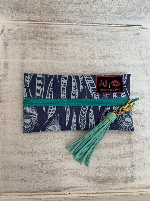 Makeup Junkie Bags Turnkey Drop Blue Feathers Mini