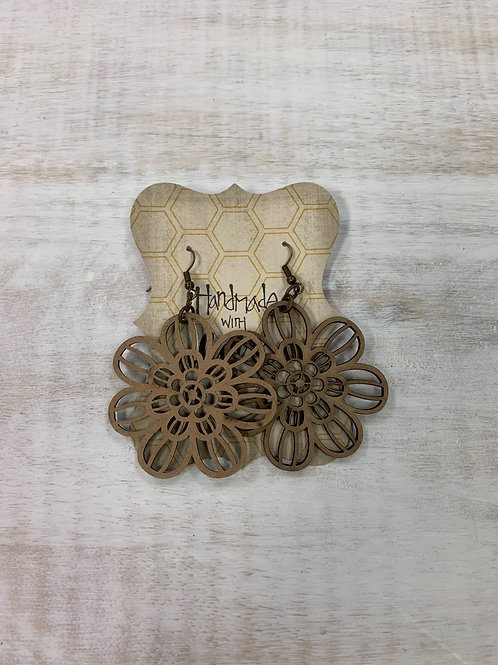 MistiC Wood Flower Dangle Earrings