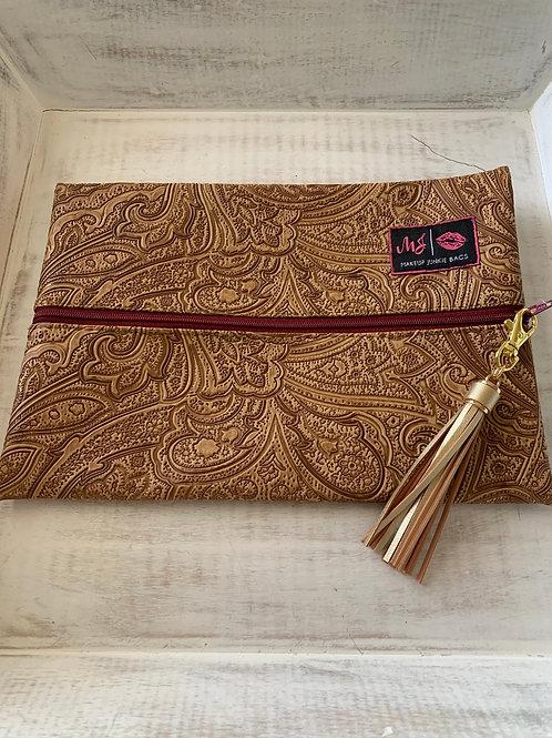 Makeup Junkie Bags Destash Tan Paisley Burgundy Zipper Medium