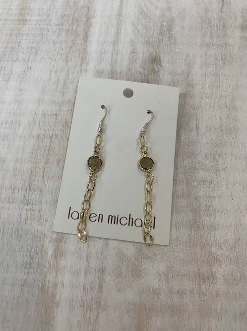 Lauren Michael Gold Chain Earrings Crystal