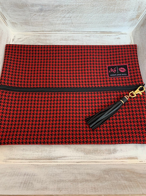 Makeup Junkie Bags Red Houndstooth Large