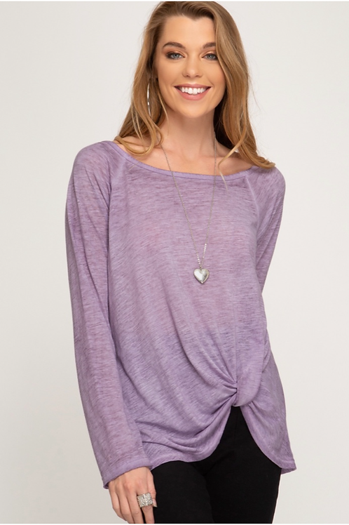 She and Sky Long Sleeve Garment Dyed Twist Top