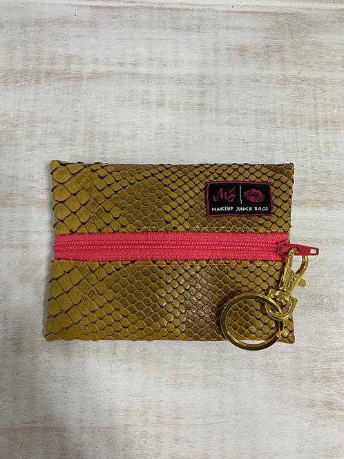 Makeup Junkie Bags Mustard Cobra Coral Zipper Micro